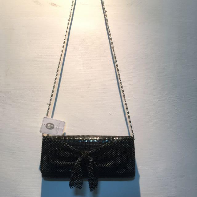 Jessica McClintock品牌奢華黑宴會手拿/細鍊側背包