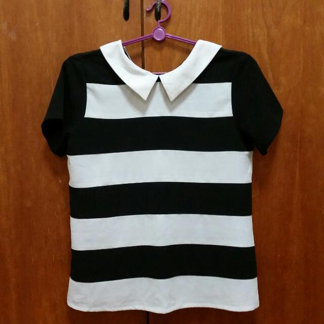 Striped Collared Top (From Ivory)