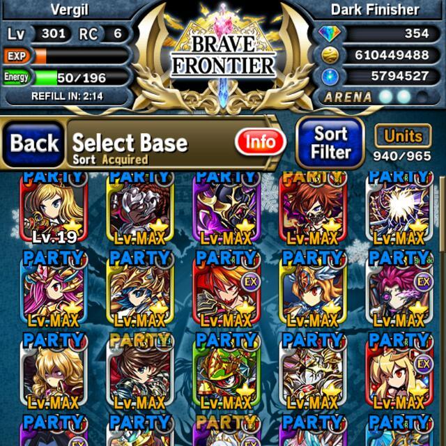 Core Tier Brave Frontier Account