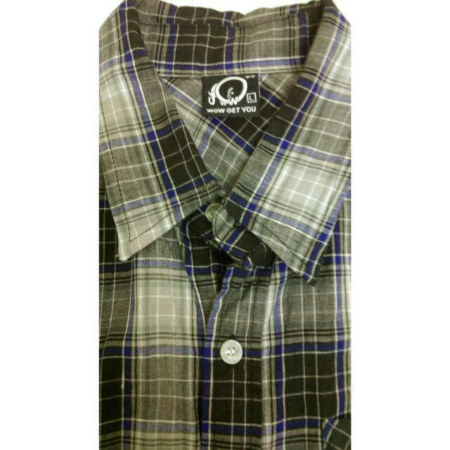 WOW灰底藍線格子短袖襯衫