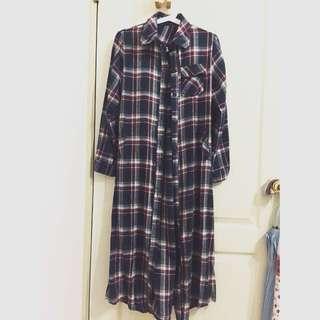 (含運)長版蘇格蘭風襯衫