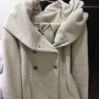 特價)正韓版超修身 短版毛料外套(米色
