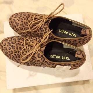 日本Retro Girl 豹紋厚底鞋