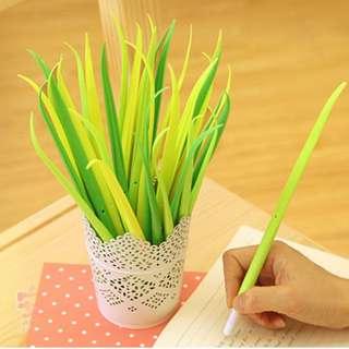 小草中性筆@三星蔥筆 青蔥小草 造型筆 蒜苗 盆栽原子筆 葉子筆 樹葉筆 療癒小物 辦公室 學生上課 禮物