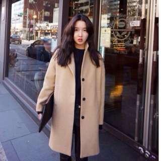 現貨正韓代購駝色羊毛大衣質感超好