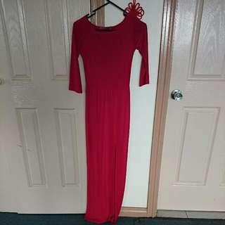 Red Long Sleeved Boohoo Side Split Dress