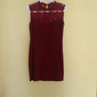 Sale 20% - Maroon Lace Dress