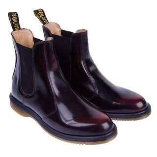 《英國代購》Dr Martens. Kensington Flora Chelsea Boots 馬丁真皮酒紅色裸靴 女鞋