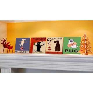 【艾樂屋家居】療癒系 潮狗系列 無框畫/壁畫/掛畫/民宿家居擺飾禮品裝飾畫