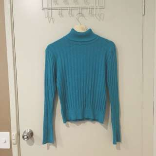 Emerald Green/Blue Turtleneck Ribbed Sweater