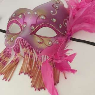 Pink Mask With Tassels, Glitter And Feather