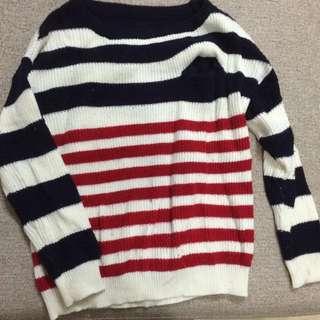 二手藍紅線毛衣