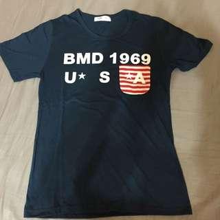 棉質海軍藍 Army口袋 短tee