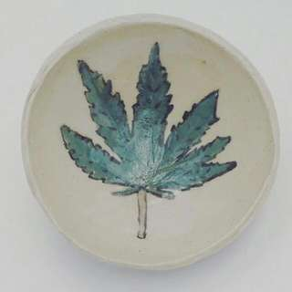 Sold ! Hemp Style Mini saucer. Handmade Pottery with Food Safe Glaze. Great Centre Piece For Small Space. Oven, Microwave and Dishwasher Safe.