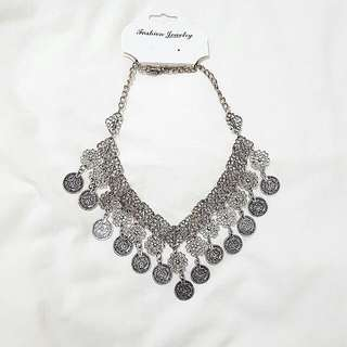 BRAND NEW Bohemian Silver Statement Coin Necklace