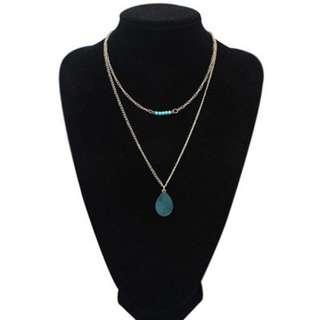 Blue Waterdrop Stone Double Layer Necklace