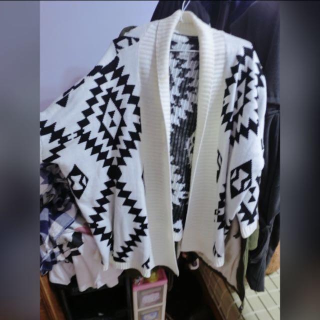 幾何圖針織罩衫