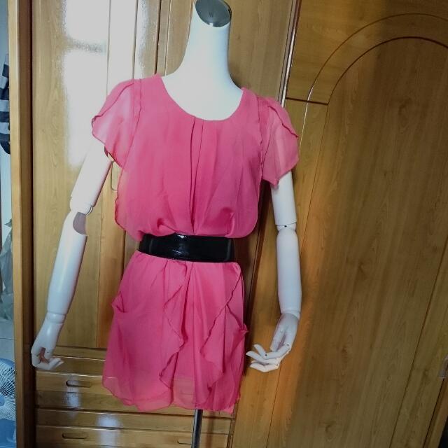 粉橘小洋裝(實際顏色偏粉橘)