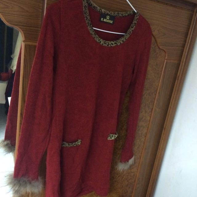酒紅豹紋長版上衣✨