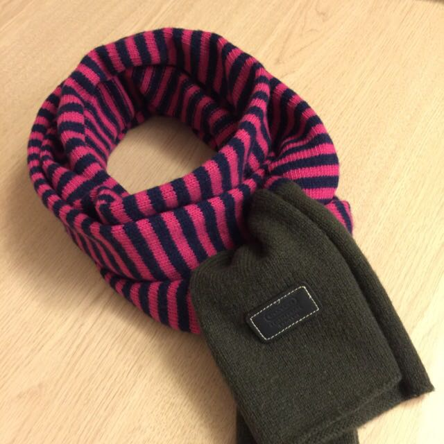 ❤️桃紅色條紋圍巾