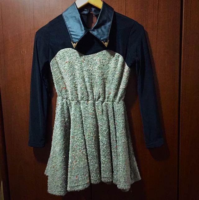 韓版皮領洋裝