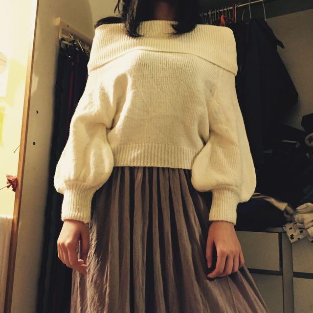 全新 韓國一字領針織毛衣
