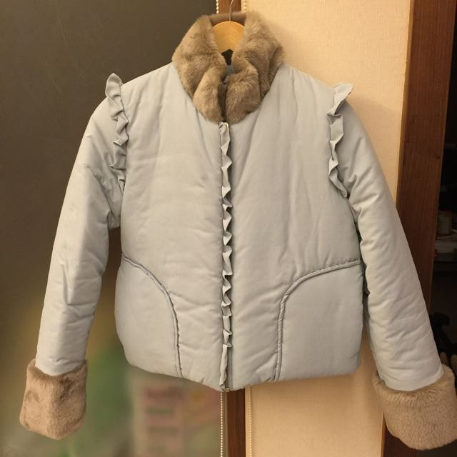 正韓 粉藍色日系鋪綿外套