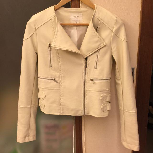 正韓 帥氣米白色皮衣