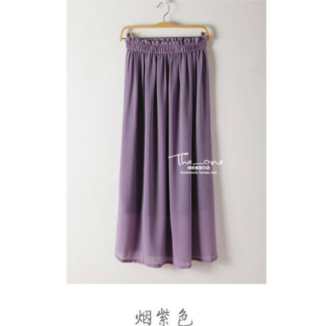 煙紫色 氣質雪紡長裙 木耳腰