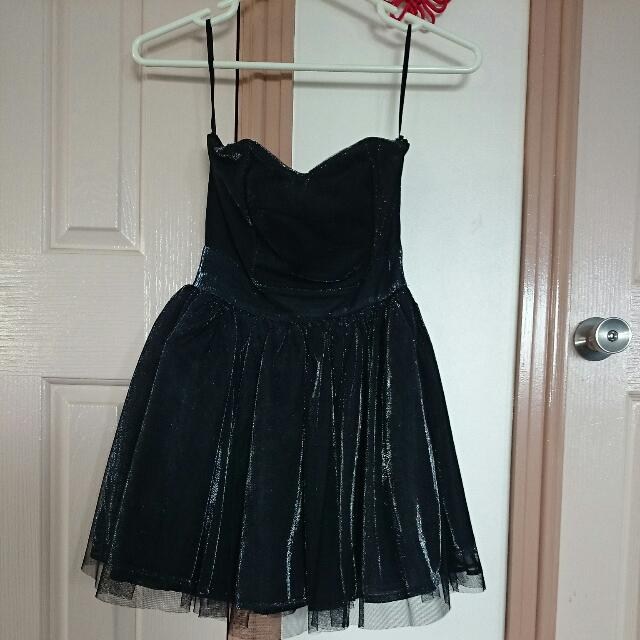 Black Sparkly Tutu Sweetheart Dress