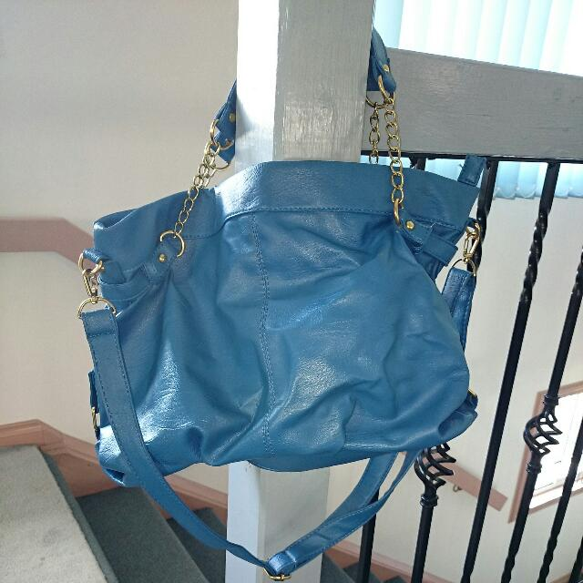 Gold Chained Blue Bag