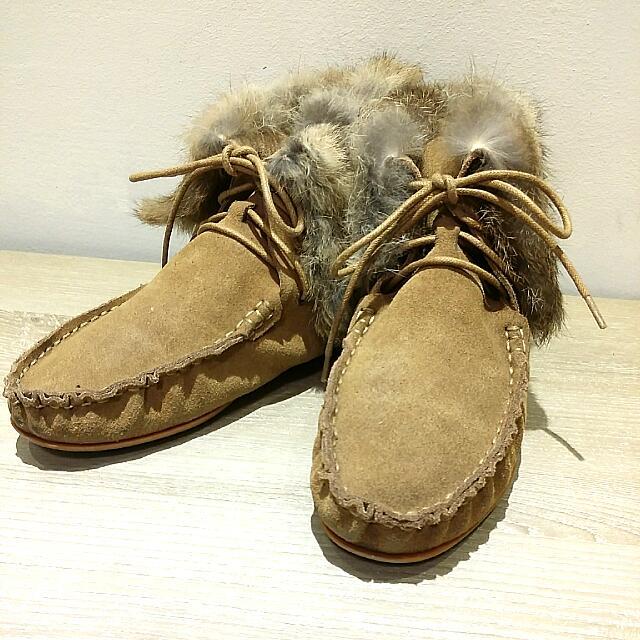 grace gift 麂皮兔毛踝靴 23.5cm