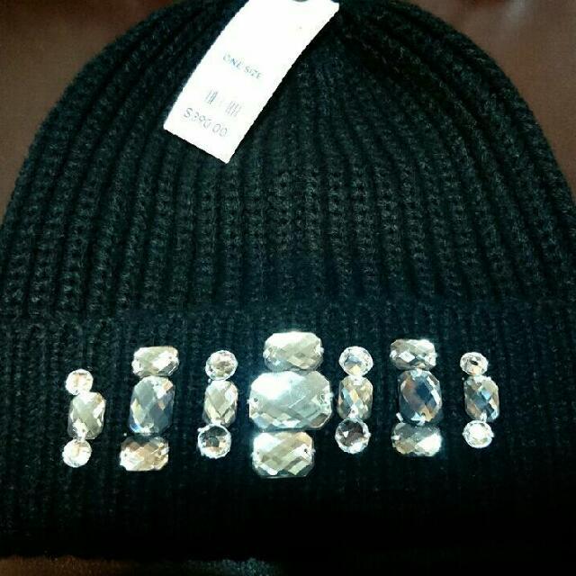 Gu 鑽珠裝飾針織帽/毛帽
