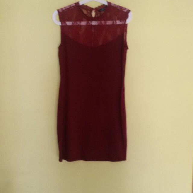 Sale 20% - Maroon Lace Dress