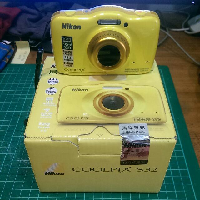 保留中 Nikon S32 防水相機 全配 使用過1次,平時放置防潮箱