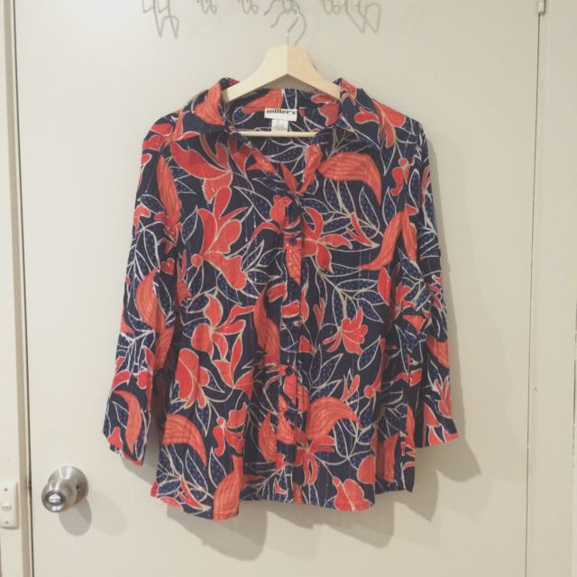 Patterned Light Cotton Blouse / Shirt / Top