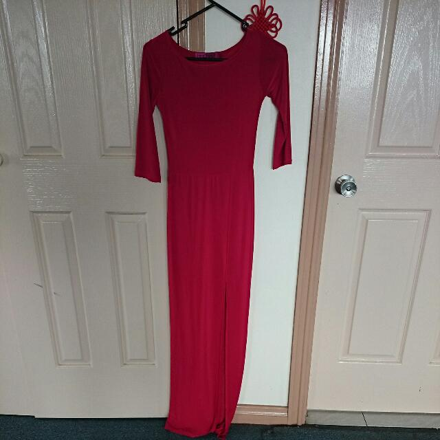 Red Long Sleeved Boohoo Side Split Dress