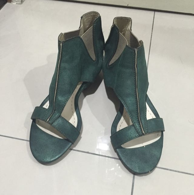 TERRI 時尚女涼鞋 金屬綠23.5