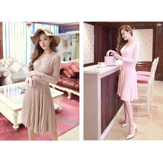 (YN160101-2) 性感優雅V領長袖百褶針織連身裙洋裝小禮服 有2色