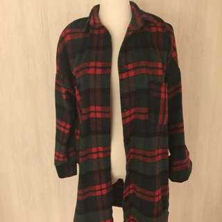 紅綠色厚毛料襯衫外套