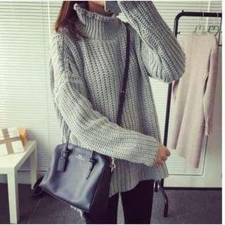 純色高領麻花針織毛衣  FDS25503