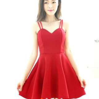 Sexy Double Strap Sweetheart Padded Dress (Black/ Red)