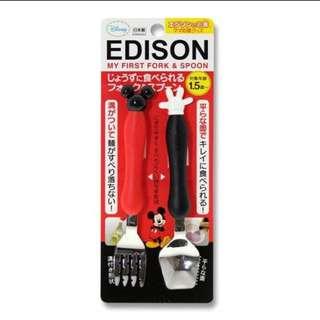 預購 日本代購 EDISON 米奇 米妮 餐具組 兩款可選擇