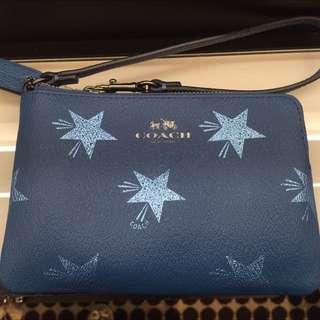 Coach Wristlet In Blue & Stars - $50