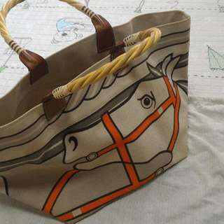Hermes Canvas Handbag