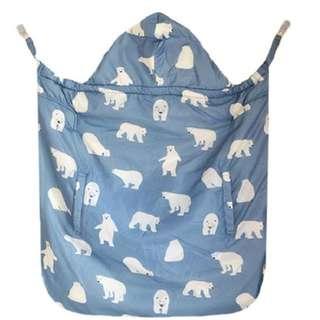 新款日本寶寶嬰兒多功能抱被羽絨加厚秋冬季推車蓋被披風 北極熊
