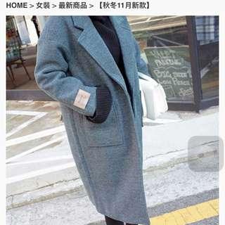 韓版簡約純色氣質寬鬆羊絨中長款西裝大衣