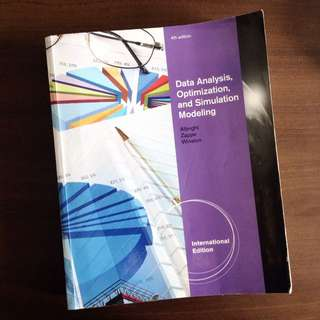 DSC1007/ DSC2008 Data Analysis, Optimization, and Simulation Modeling