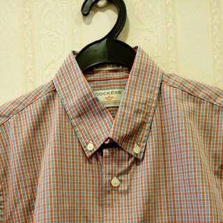 Dockers Orange Short Sleeve Checked Shirt Small