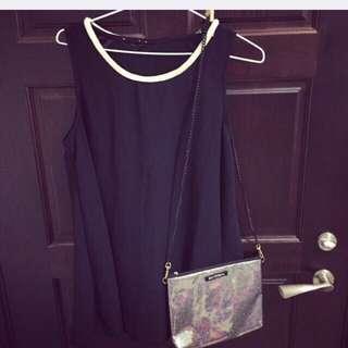 正韓質感珍珠領黑色洋裝全新